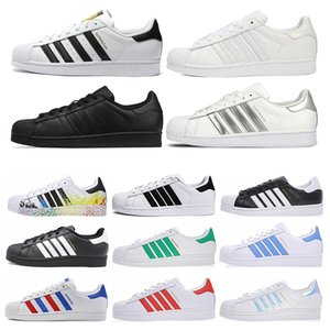 Adidas Superstar Free Shipping Superstar White Black Pink Blue Gold Superstars 80s Pride Sneakers Super Star Women Men Sport Casual Shoes EU Size 36-45