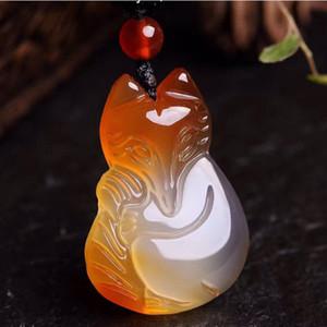 Naturale Calcedonio Fox Collana intagliato a mano fortunata collana Amulet Lovers per uomini e donne