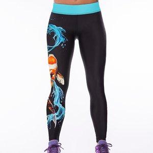 Foreign Trade New Goldfish Digital Printing Tight High Waist Leggings Womens Sports Yoga Pants Aslgs0017