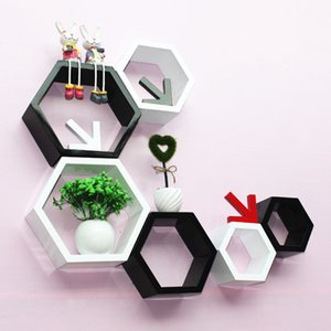 3Pcs / Set Hexagon Shelf Wall Floating Arfrof Wall Hanging Geometric Figure Home Bedroom Decoration Bookshelf Storage Kit T200320