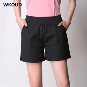 WKOUD 2019 Fashion Candy Colors Shorts Summer High Waist Short Harem Shorts Women Solid Loose With Pockets Casual P8871