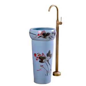 Bathroom Sinks Ceramic Basin Integrated pedestal Basin Art Landing Lavatory Balcony Retro Blue Lotus pedestal basin