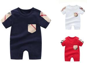 Çocuklar romper ekose cep romper pamuk bebek bebek tulum tasarımcı etiket bebek erkek kız Tulumlar 3 renkler yenidoğan giysileri