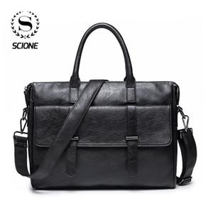 Scione Sac d'affaires pour hommes sac Porte-documents en cuir pour hommes Bureau Laptop Messenger tout en cuir