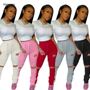 Taille haute Sweatpants Femmes Joggers 2020 élastique d'été empilée Jambières de Bell Bottom Hole pantalons de Split Hem Flare froncé Pant