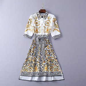 Milan Runway Dress 2019 Spring Summer 1/2 Ärmel Reverskragen Print Split Designer Dress Brand Gleicher Stil Kleid 040312