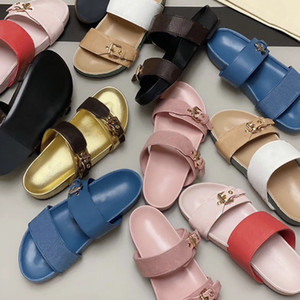 Luxus Leder Mules Schiebern Designer Maultiere Schieber Frauen Mens Low Mule Bom Dia goldene Schnalle Sommer Sandale flach Print Flip Flops 10 Farben