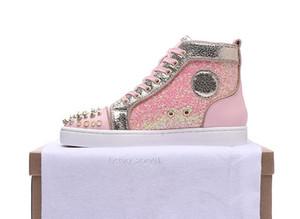Casual Shoes Deslizamento-em rolo Barco Cristal Couro New Designer Red Bottoms Mens Esporte Mulheres Suede Pico Sneakers Box saco de poeira 36-47