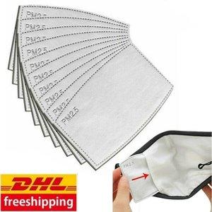 DHL Shipping 24 Horas! 100pcs cara Boca máscara de filtro Pad 5-camada filtrada carvão activado descartável Máscara Pad