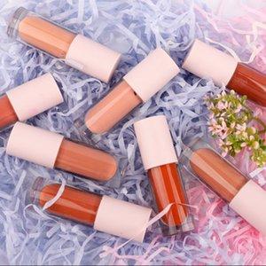 drucken Ihr Firmenzeichen 8 Matte Velvety Lipgloss Nude Flüssigkeit Lippenstift Moisturizer glatt wasserdichte LipGloss rosa Rohr Lipgloss für Frauen
