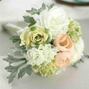 4 couleurs Silk Pivoine Rose Carnation hybride Bouquet de fleurs artificielles Bouquet de mariée mariage décoration bricolage Home Party