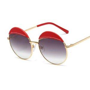 Vintage Shades Yuvarlak Güneş Bayanlar Eğilimleri Sahte Orjinal Lüks Güneş Gözlükleri İçin Erkekler Kadınlar Moda Kırmızı deri Gözlük