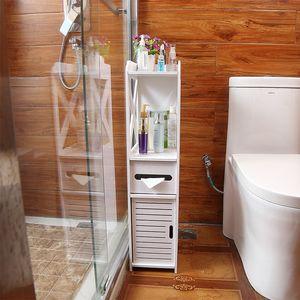 Montados en el suelo higiénico impermeables gabinete lateral de baño de PVC de almacenamiento en rack estantes de la cocina dormitorio principal baño de almacenamiento Organizador T200413