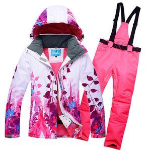 10K Lider satış kış ceketler kadın kayak takım ceket ve pantolon açık tek kayak set rüzgar geçirmez Therma ski snowboardl T190920 set