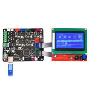 Printer Freeshipping 3D Controlador Board MKS Base de Dados Com mega 2560 R3 Motherboard RepRap Ramps1.4 + 12864 LCD Controlador