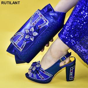 Últimas Shoe Africano e Bag Set decorado com strass Shoes Mulheres 2020 sapatos italianos com correspondência Bags mais recente projeto