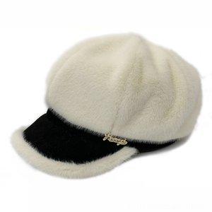 Осень Зима Женщины Восьмиклинка Casquette Femme Искусственного меха кролика плюша Корея восьмиугольная Baseball Cap Берет Femme Hat шляпы Шапки Шапки, шарфы