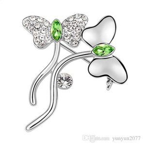 Christmas Gift High-end Fashion Accessories Jewelry Luxury Import Austrian Crystal Rhineston Elegant Butterfly Charm Brooches Pins For Women