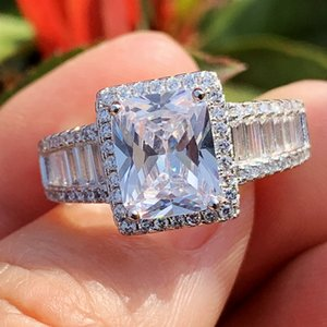 Luxury Jewelry Stunning Real 925 Sterling Silver Princess White Big White Topaz CZ Diamond Eternity Engagement Band Ring for Women Gift