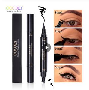 Docolor líquido preto Eyeliner Stamp Lápis do marcador Selo impermeável duplo terminou Eye Liner Pen Cosmetic Delineador