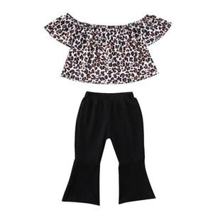 Pudcoco Verão criança crianças Bebés Meninas Roupas 2pcs Casual Outfits Leopard Print Tops T-shirt + calças Crianças Clothings Set