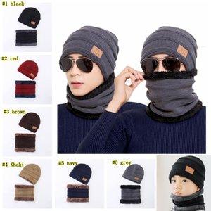 de los hombres al aire libre de invierno tejer sombrero bufanda conjunto color sólido caliente del casquillo Pañuelos Accesorios Sombreros de invierno de la bufanda 2 Piezas LJJM2371-4