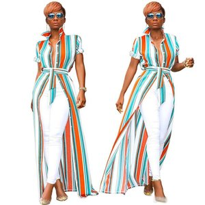 2019 new women summer striped print blouse open stitch short sleeve with sashes maxi blouses shirt vintage long dress vestido