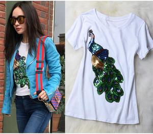 Mangas lantejoulas Peacock Impresso Tops gola de Slim Womens roupas de verão Feminino designer de moda T-shirts Curto