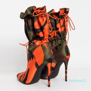 2019 Spring Autumn New High Heels 11cm Stilettos Fashion Camouflage Ankle Shoes Woman Lace Up Sexy Night Club Boots Chic l11
