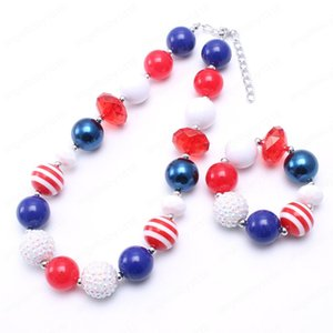 Cute Design Girls Chunky Beads Necklace Bracelets Set Fashion Baby Kids Child Chunky Bead Jewelry Set For Forth July
