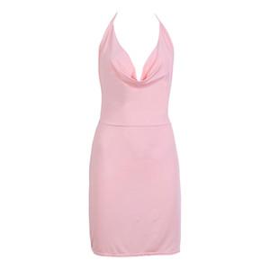 Стильное летнее женское платье Vintage без рукавов Bodycon с v-образным вырезом для вечеринок Вечернее платье из цельного полиэстера Мини-платья один кусок