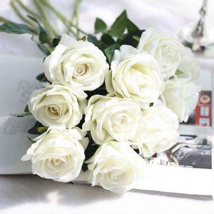 1PC Francese Rosa romantica del fiore artificiale del velluto del fiore DIY per l'impianto festa a casa di nozze Vacanze Decorazione Simulazione Faux floreale verde