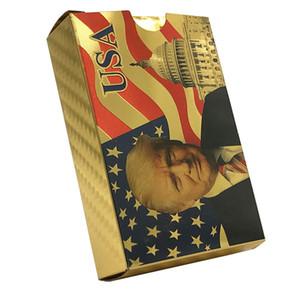 الرئيس الامريكي دونالد ترامب 24K الذهب اللعب بطاقات بوكر لعبة بوكر الطابق الذهب احباط تعيين البلاستيك بطاقة سحرية للماء بطاقات ماجيك