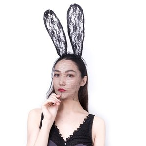 2020 Wholesale New Fashion Women Lace Rabbit Bunny Ears Veil Hair Accessories Sexy Black Mask Halloween Party Sexy Hair Band Club Cosplay