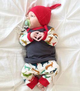 Nouveau-né unisexe bébé garçon fille cerf t-shirt Pantalons Leggings doux mélange de coton 3pcs Tenues bébé Set