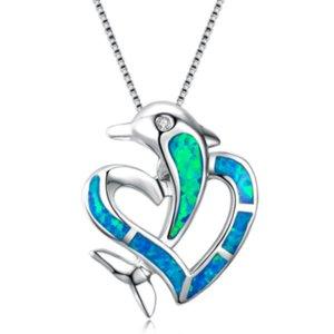 Romantic Style argento placcato cuore di amore di delfino Opalite opalino Ciondolo Catena monili della collana di temperamento
