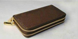 Mode Frauen Männer Braun Schwarz Weiß Plaid Doppelreißverschluss Lange Brieftaschen Unterschrift Brief Braun Brieftaschen Geldbörse Kartenhalter # 51003