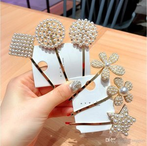 2019 new Korean hair accessories INS word clip imported hairpin pearl flower metal side clip hairpin bangs clip adult headdress