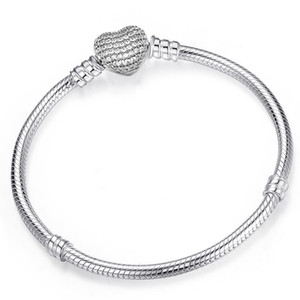 925 Sterling Silver Heart Charms Bracelet Fit Pandora European Beads Jewelry Bangle Real silver Bracelet for Women