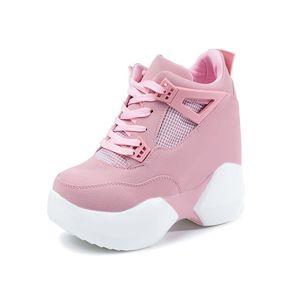 Hot Sale-Mode Chaussures Automne Leathe Chaussures semelle épaisse Formateurs Chaussures de dame rose blanc