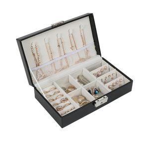 여자를위한 다기능 보석 조직자 귀걸이를위한 자물쇠를 가진 Pu 가죽 보석 전시 상자 팔찌 목걸이 반지 T190629