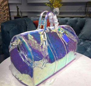 Классический люкс Дизайнерские сумки лазерной вспышки ПВХ 50см прозрачный вещевой мешок Brilliant плеча сумочку цвета Камера Дорожная сумка Crossbody