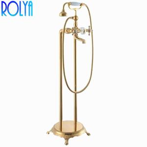 Rolya Crystal Golden Floor Floor Faucets Faucets قائم بذاته حمام حنفيات صنابير