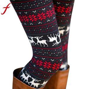 Feitong Jambières de Noël pour les femmes Lady Casual Elasticité Skinny imprimé Pantalon extensible Jambières pantalons legins Calzas mujer
