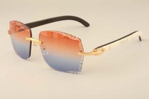 Nouvelles lunettes de soleil de mode de luxe directe usine 3524014 corne mixte naturelle des lunettes de soleil haut de gamme des lentilles de gravure, personnalisée privée, nom gravé