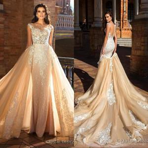2019 arabe Vintage robe De Novia détachable train robes de mariée sirène pure bijou cou Cap manches dentelle robes de mariée mariée faites sur mesure