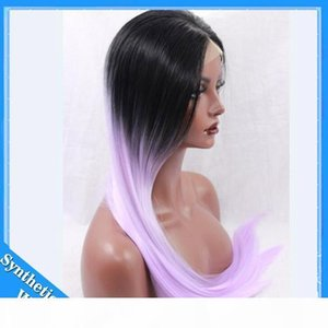 L Ombre Wig Heat Resistant Light Purple Natural Black Ombre Color Long Straight Synthetic Lace Front Wig For Women Cosplay Wig High Qua