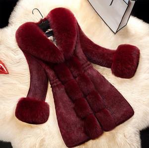 ¡CALIENTE! Nuevo abrigo de piel de moda de lujo invierno de las mujeres El diseñador Escudo con el cuello de vestir exteriores femenina femenina más el tamaño del Faux Abrigo