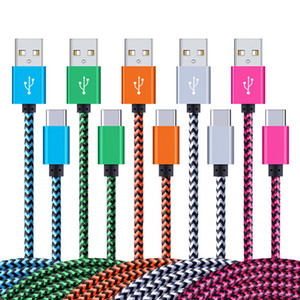 Nylon USB Type c Cable Fast charging line adapter Short Type-c Charger Data Cord for Samsung Galaxy S10 S9 Plus xiaomi Huawei