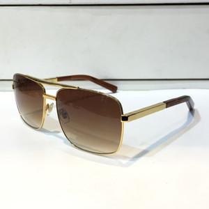 Actitud de lujo de la vendimia de los hombres al aire libre gafas de sol Clssic cuadrado del metal del marco completa protección UV 400 0259 Gafas de calidad superior con el paquete